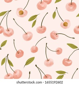 Watercolor light pink cherry seamless pattern in hand-drawn  style. Simple fruit fabric design.