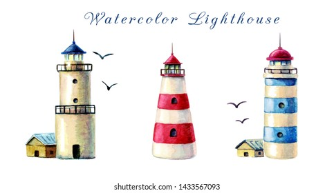 Watercolor lighthouses set. various lighthouses isolated on white background. illustration of red and blue striped beacons and white lighthouse with keepers houses and seagulls. hand painted beacons.
