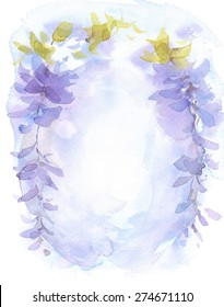 Watercolor Lilac Blue Floral Wisteria Background Texture Hand Painted Abstract Flowers