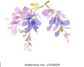 Watercolor Lilac Blue Flowers Wisteria Hand Drawn Floral Abstract Background Texture Illustration