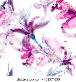Watercolor Lilies Seamless Pattern