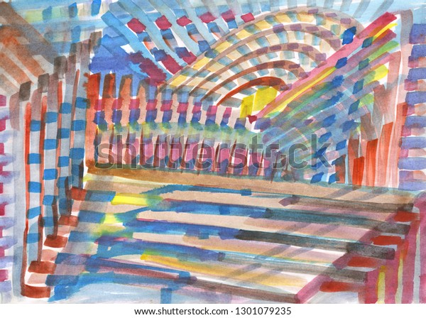 Watercolor Linear Abstract Painting Cityscape Architecture