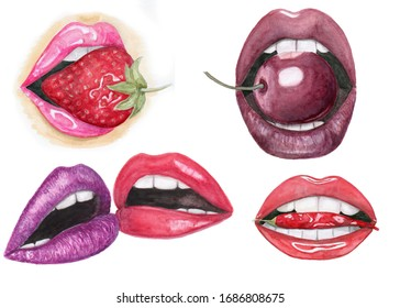 watercolor lips set isolated on white