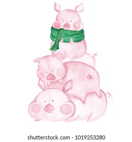 Watercolor little Pigs. 2019 Chinese New Year of the Pig. Christmas greeting card