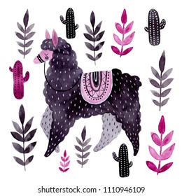 Watercolor llama and plants. Hand drawn illustration