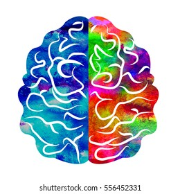 Watercolor Logo Modern Brain Sign of Psychology. Human. Creative style. Icon in . Design concept. Brand company. Rainbow violet left right color isolated on white background. Symbol for web, logotype