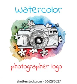 Watercolor logo for photographer. Vintage photo camera with flowers. Hand painted isolated design. Watercolor illustration.