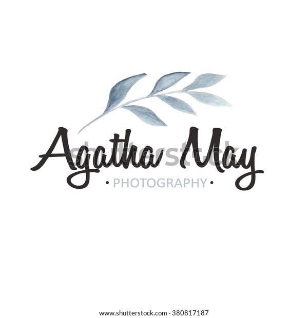 Watercolor logo template. Photography logo. Watercolor floral logo, flower, branch. Wedding logo. Premade logo design. Florist logotype. Brand identity. Rustic whimsical logo. Simple logo.
