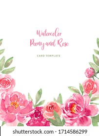 Watercolor loose style pink flower and green leaves frame. Modern trendy template for invitation, wedding, greeting card design. Poster with peony, rose.