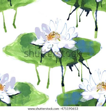 Watercolor Lotus Flower Seamless Pattern Hand Stock Illustration