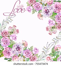 watercolor love card with floers