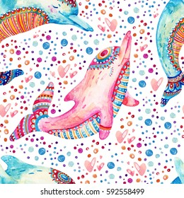 Watercolor lovely dolphins seamless pattern on background with bubbles. Childish mammals in cartoon style. Hand painted cute animal illustration