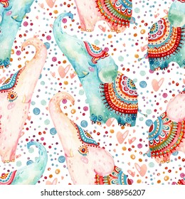 Watercolor lovely elephants on subtle background with bubbles, dots, hearts. Seamless pattern in cartoon style. Hand painted cute animal illustration