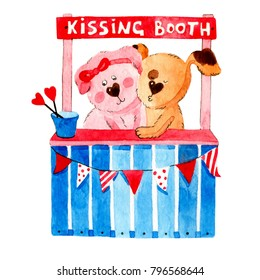 Watercolor lovers in kissing booth wish you a happy Valentines Day!