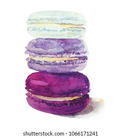 Watercolor macarons in purple, lavender and mint colors.