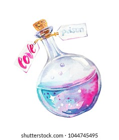 Watercolor magic flask with pink and purple love and poison potion.