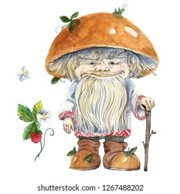 watercolor magic mushroom old man with a grasshopper on his hat