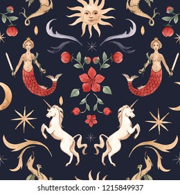 Watercolor magic pattern, unicorn, mermaid, stars and sun with face. Middle Ages print, dragon, red flower and moon. Dark background