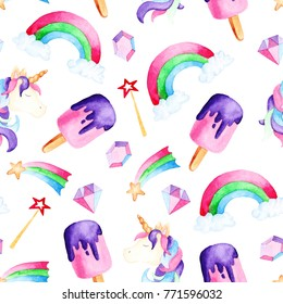 Watercolor magical unicorn pattern. For design, print or background.