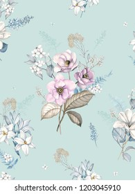 Watercolor magnolia, lilies and leaves, white flowers