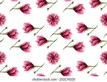 Watercolor magnolias pattern on a white background