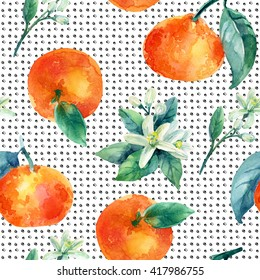 Watercolor mandarine orange fruit with leaves and blossom seamless pattern on white background. Orange citrus tree. Mandarin bloom. Tangerine, leaf, flower in retro style. Hand painted illustration