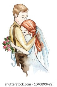 watercolor mariage couple hanging with flowers and wedding dress.