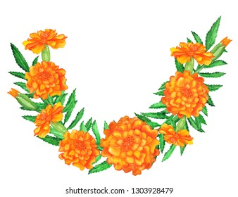 Watercolor marigold flowers, leaves. Garland, border isolated on white background. Hand painting on paper
