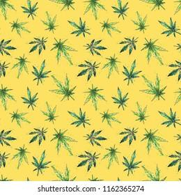 Watercolor marijuana pattern