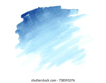 Watercolor Marina Blue brush paint paper texture isolated stroke on white background for print, card, tag. Hand drawn striped illustration element for wallpaper, text and design.
