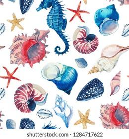 Watercolor marine pattern, wallpaper with seashells, beach print. red starfish, seahorse