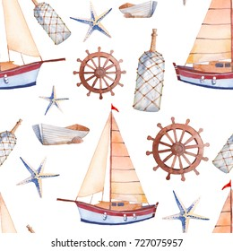 Watercolor marine seamless pattern. Repeating texture with sailboat, wheel, lantern, boat, bottle and sea star.