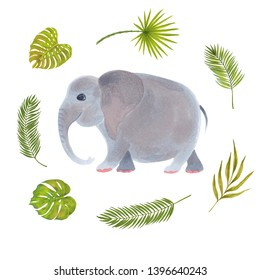 Watercolor marker cute realistic illustration of elephant with tropic leaves