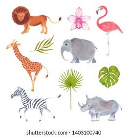 Watercolor marker cute realistic set of African animals lion, flamingo bird, giraffe, elephant, zebra, rhino with flowers and plants.