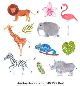 Watercolor marker cute realistic set of African animals lion, flamingo bird, giraffe, elephant, zebra, rhino, chameleon with flowers and plants.