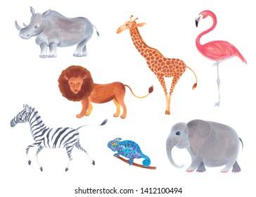 Watercolor marker cute realistic set of African animals lion, flamingo bird, giraffe, elephant, zebra, rhino, chameleon.