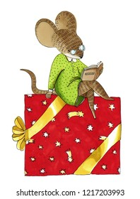 watercolor and marker illustration about christmas. Cute animal like humans. Humanized animal. Dressed mouse sits on a big christmas gift box and reads a book