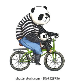 Watercolor and marker illustration. Father panda in black and white t-shirt cycling by bicycle with his little son panda