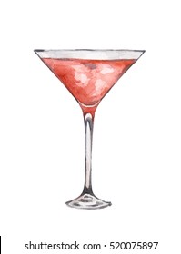 Watercolor martini glass on white background. Alcohol beverage. Drink for restaurant or pub.