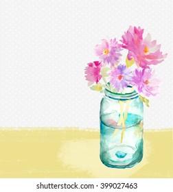 Watercolor Mason Jar With Flowers Bouquet