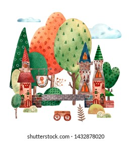 Watercolor medieval town card. Towers and castles. Stone bridge. Autumn forest. Wooden cart and old sightboard. Touristic cartoon illustration. Cute hand drawn style.