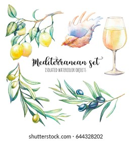 Watercolor Mediterranean set. Hand drawn food and natural objects isolated on white background. Sea shell, olive tree branches, lemon branch, glass of wine. Traditional elements