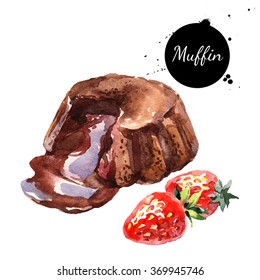 Watercolor melt chocolate muffin souffle dessert. Isolated food illustration on white background