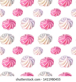 Watercolor meringues pattern. seamless sweets pattern on white background. Hand painted gentle meringues isolated on white background. Watercolor sweets pattern. Can be used in a logo, cards, posters,