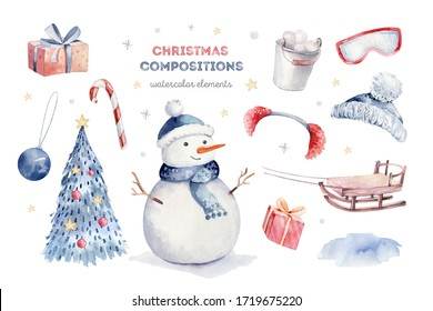 Watercolor merry christmas character penguin illustration. Winter cartoon isolated cute funny animal design card. Snow holiday xmas penguins.