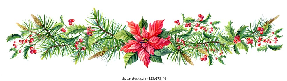 Watercolor Merry Christmas Frame with Red poinsettia flowers,Holly,leaves,berries,pine,spruce,green twigs on  white background.New Year floral composition for greeting card,design.