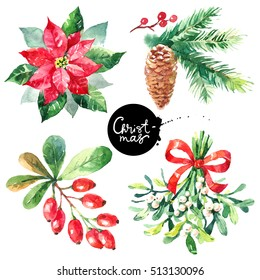 Watercolor Merry Christmas and Happy New Year set. Hand painted sketch isolated illustrations
