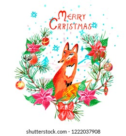 Watercolor Merry Christmas illustration with cute hand drawn fox. Wreath with poinsettia flowers, fir tree branches, red ribbon and bullfinch. Holiday card with animals, decoration and text.