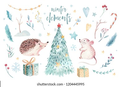 Watercolor Merry Christmas illustration with snowman, christmas tree , holiday cute animals fox, rabbit and hedgehog . Christmas celebration cards. Winter new year design.