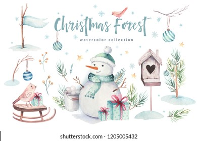 Watercolor Merry Christmas illustration with snowman, holiday animals deer, rabbit. Christmas celebration cards. Winter new year design.